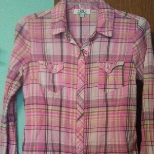 Lei plaid snap front blouse  size junior m